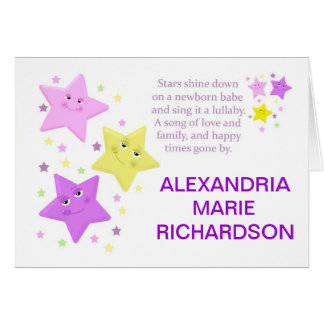 Stars Baby Girl Birth Announcement with Poem
