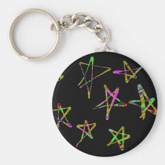 Stars Basic Round Button Keychain