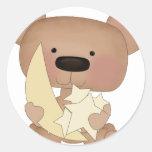 stars bear round stickers