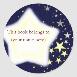 Stars, blue and yellow classic round sticker