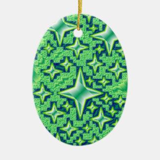 Stars Blue Green Teal Metallic Digital Graphic Fun Ceramic Ornament