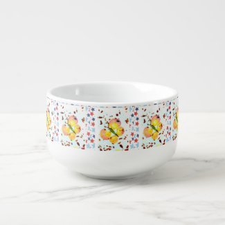 Stars & Butterflies soup mug, artsy,stylish,unique