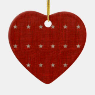 Stars Ceramic Heart Christmas Ornament