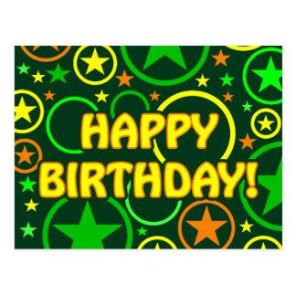 STARS CIRCLES postcard - Happy Birthday