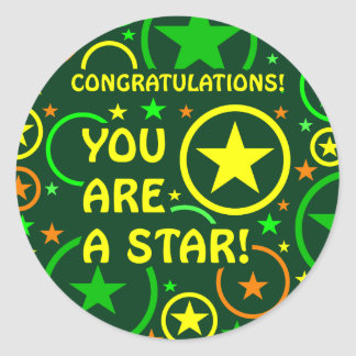 "STARS & CIRCLES stickers - ""You are a star!"""