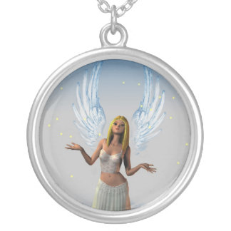 Stars Falling on an Angel (Necklace/Pendant) Round Pendant Necklace