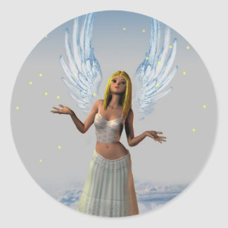 Stars Falling on an Angel (Stickers) Classic Round Sticker