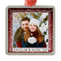 Stars & Falling Snow Rustic Burgundy Dated Photo Metal Ornament