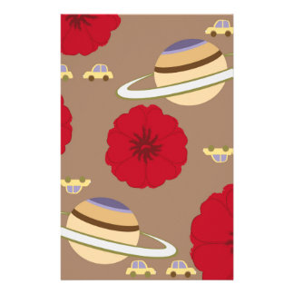 Stars, flowers, and cars stationery