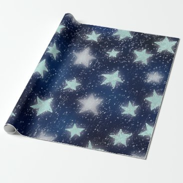 McTiffany Tiffany Aqua Stars Galaxy Sky Navy Blue Night Mint Tiffany Aqua Wrapping Paper
