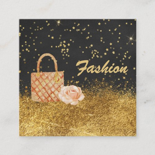 Stars Gold Glitter BAG ROSE FASHION Square Business Card