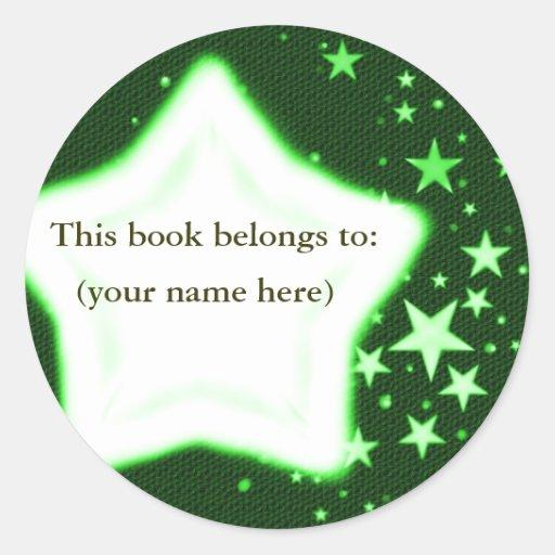 Stars, green round sticker