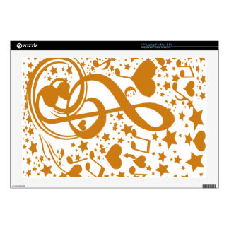 Stars,Hears and The Music Notes,Gold_ Laptop Skin