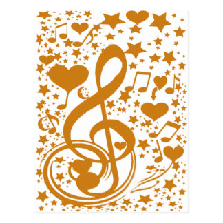 Stars,Hears and The Music Notes,Gold_ Postcard