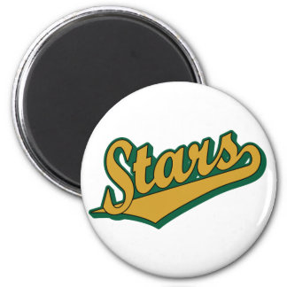 Stars in Gold and Green 2 Inch Round Magnet