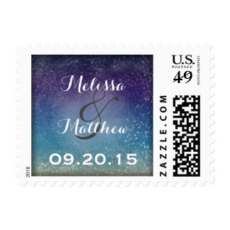 Stars in the Evening Sky Round Wedding Stamps