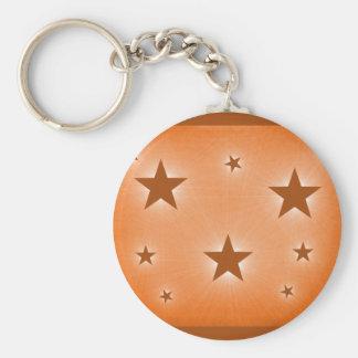Stars in the Night Sky Keychain, Orange Basic Round Button Keychain