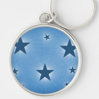 Stars in the Night Sky Premium Keychain, Blue Silver-Colored Round Keychain