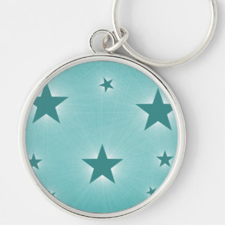 Stars in the Night Sky Premium Keychain, Teal Silver-Colored Round Keychain