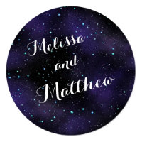 Stars in the Night Sky Round Wedding Invitation