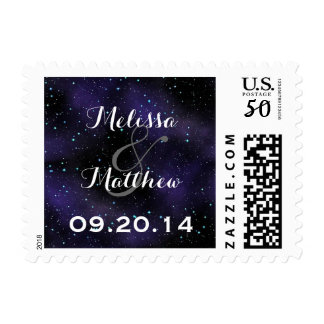 Stars in the Night Sky Round Wedding Stamps