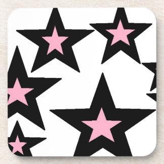 stars.jpg rosado y negro posavasos de bebidas