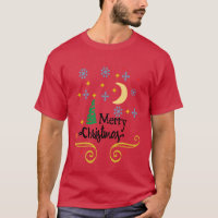 Stars, Moon, Snowflakes, and Merry Christmas, ZSSG T-Shirt
