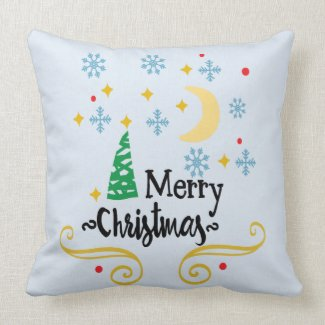 Stars, Moon, Snowflakes, and Merry Christmas, ZSSG Throw Pillow