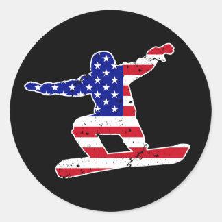 Stars 'n' Stripes SNOWBOARDER (wht) Classic Round Sticker