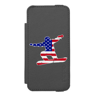 Stars 'n' Stripes SNOWBOARDER (wht) Wallet Case For iPhone SE/5/5s