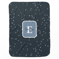 Stars Navy Blue Patterned Baby Boy Blanket