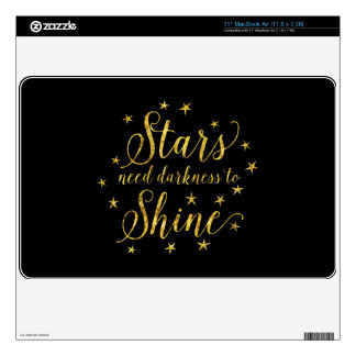 """Stars Need Darkness To Shine Gold Black Skin For 11"""" MacBook Air"""