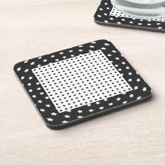 Stars on Black and White Beverage Coaster