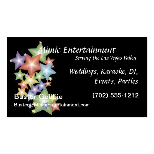 Stars on Black Background Business Card Templates