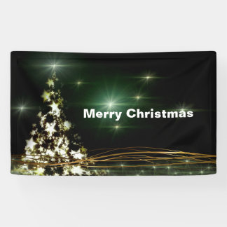 Stars on Christmas Tree Night Sky 3' x 5' Banner