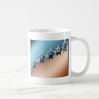 Stars on copper and blue coffee mugs