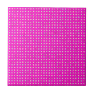 STARS ON PINK SMALL SQUARE TILE