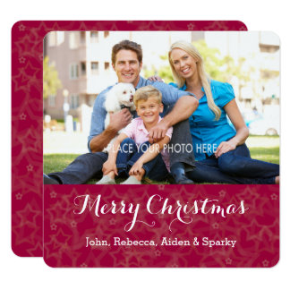 Stars on Red Background Merry Christmas Photo Card