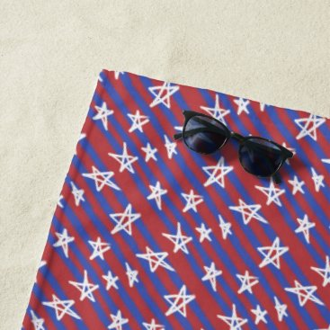 Beach Themed Stars on Stripes Beach Towel