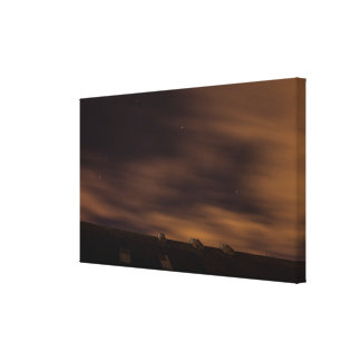 Stars over Rooftop Stretched Canvas Print
