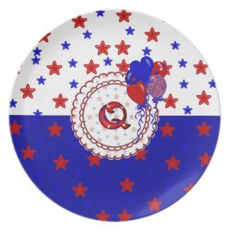Stars Patriotic Monogram Plate Letter Q