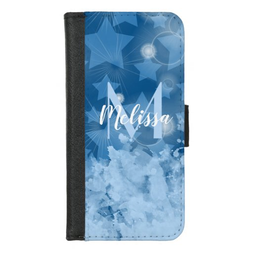 Stars pattern Classic blue Monogram personalized iPhone 8/7 Wallet Case