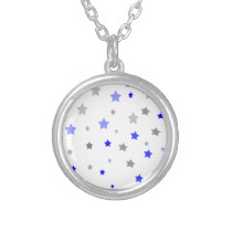 Stars pattern in blue white and grey silver plated necklace
