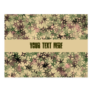 Stars Pattern in Camouflage Colors Postcard