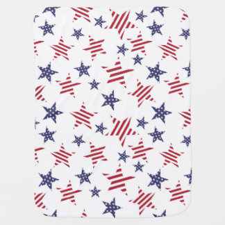 Stars pattern in color of the USA flag Swaddle Blanket