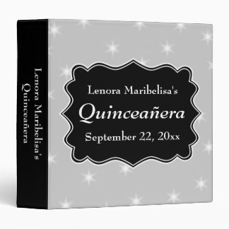 Stars Pattern in Gray and White Quinceanera 3 Ring Binder
