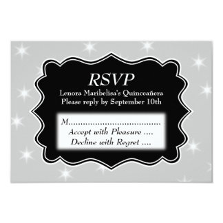 Stars Pattern in Gray and White Quinceanera Card