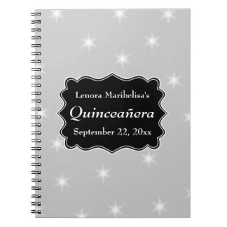 Stars Pattern in Gray and White Quinceanera Spiral Notebook