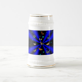 Stars, pearls and Butterfly on black and blue Beer Stein