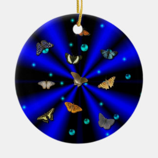 Stars, pearls and Butterfly on black and blue Ceramic Ornament